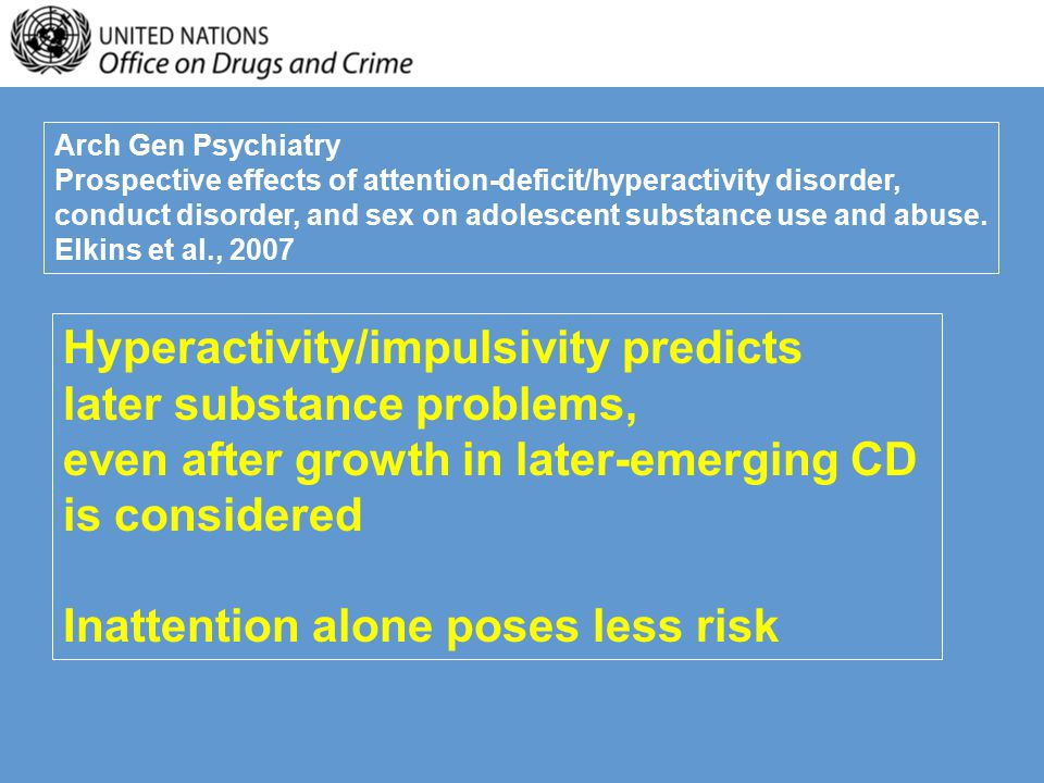 Arch Gen Psychiatry Prospective effects of attention-deficit/hyperactivity disorder, conduct disorder, and sex on adolescent substance use and abuse.
