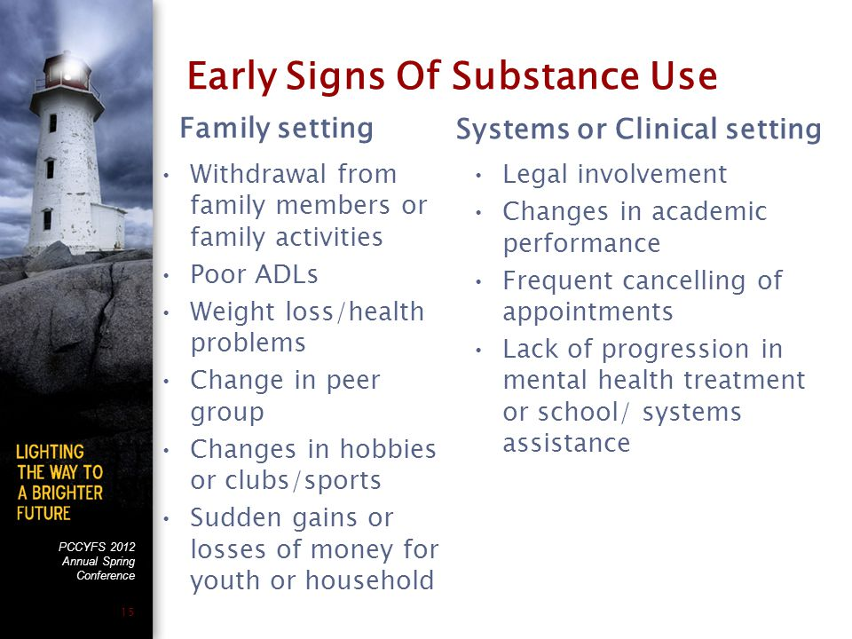 PCCYFS 2012 Annual Spring Conference 15 Early Signs Of Substance Use Family setting Withdrawal from family members or family activities Poor ADLs Weig