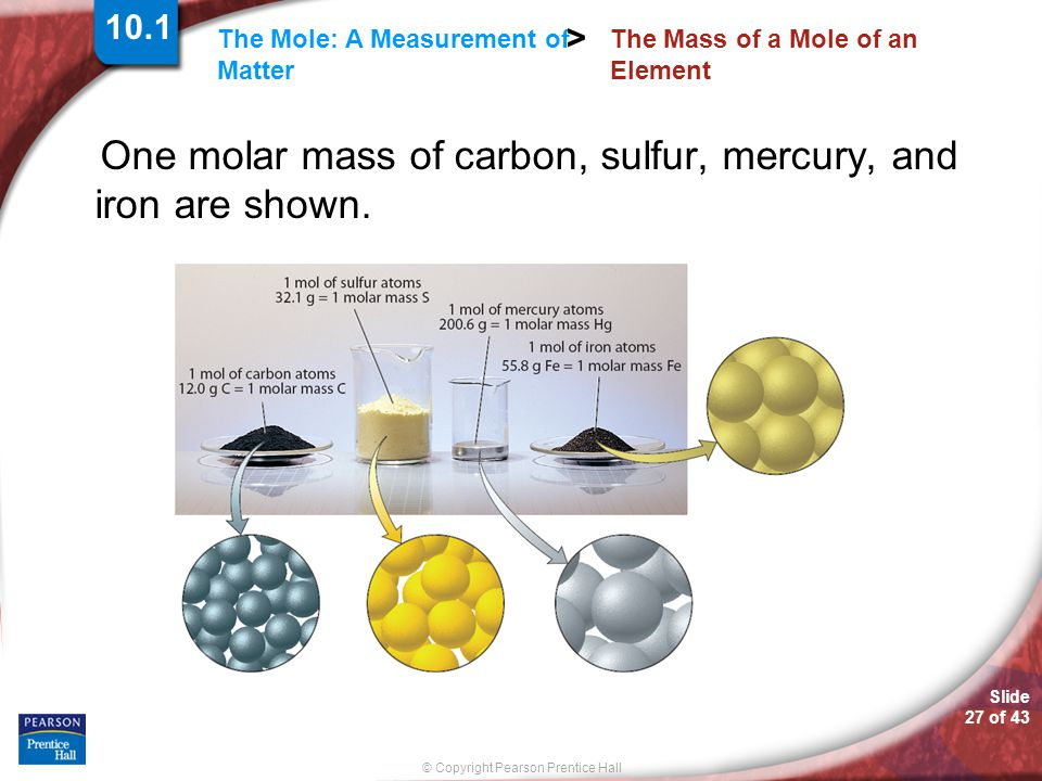 Slide 27 of 43 © Copyright Pearson Prentice Hall The Mole: A Measurement of Matter > The Mass of a Mole of an Element One molar mass of carbon, sulfur