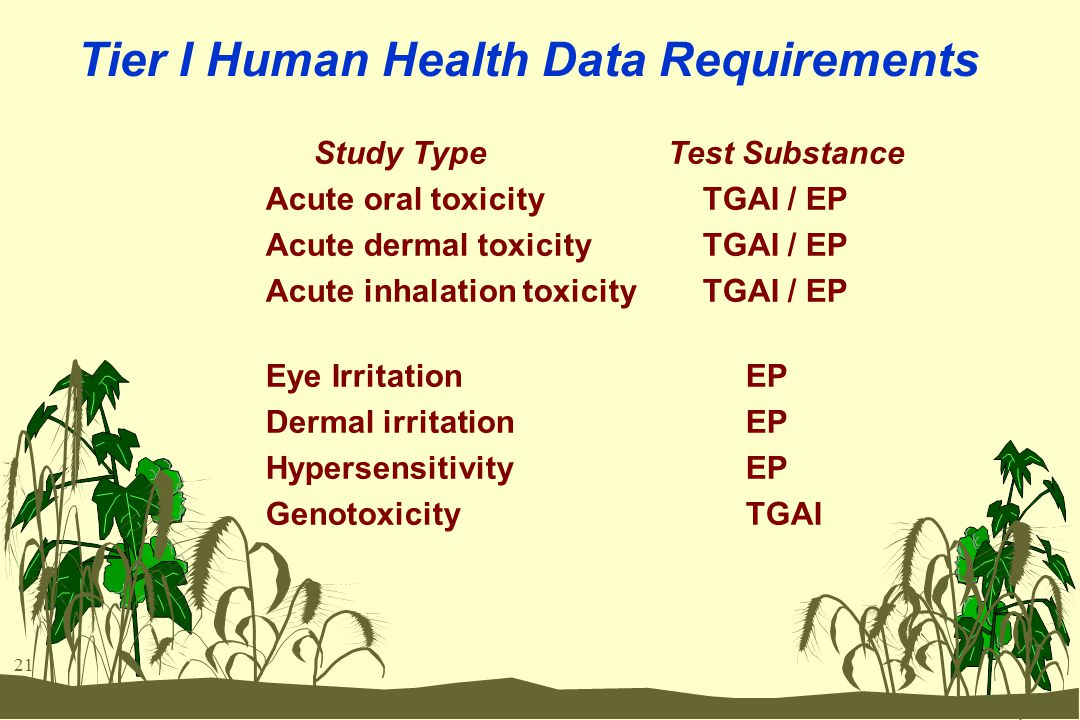 21 Tier I Human Health Data Requirements Study Type Test Substance Acute oral toxicity TGAI / EP Acute dermal toxicity TGAI / EP Acute inhalation toxi