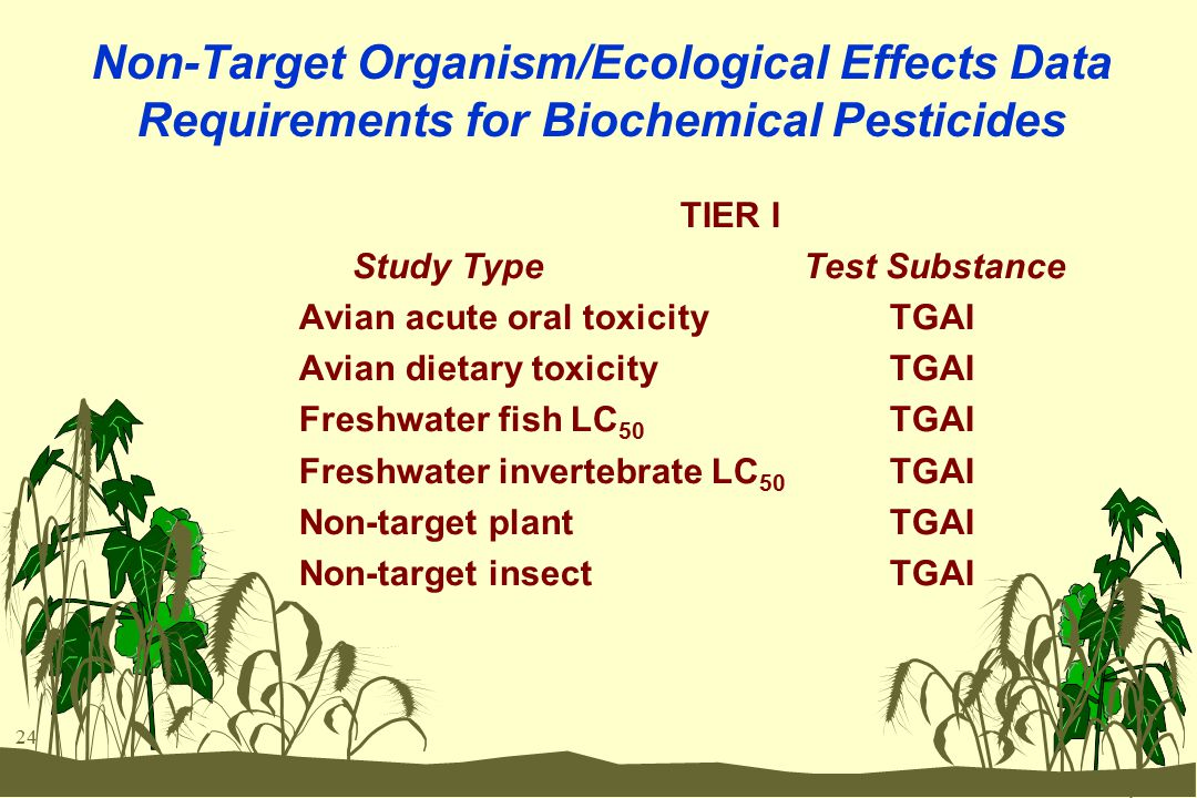 24 Non-Target Organism/Ecological Effects Data Requirements for Biochemical Pesticides TIER I Study Type Test Substance Avian acute oral toxicity TGAI