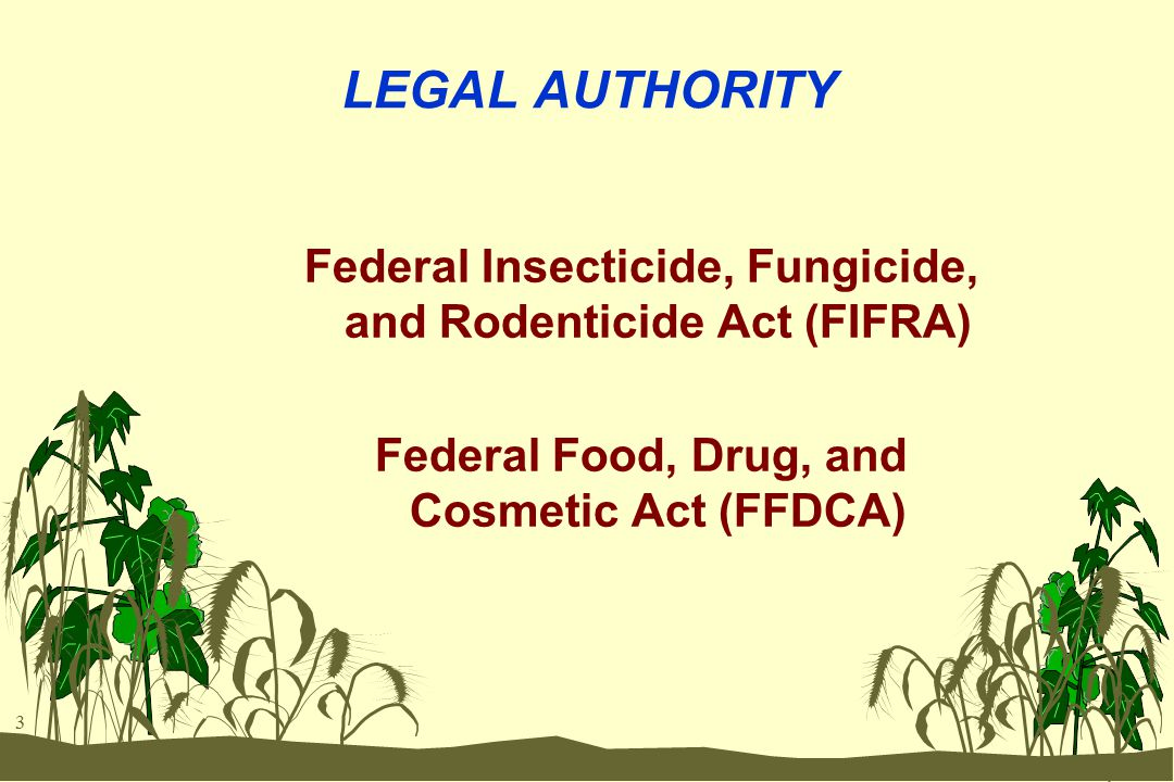 3 LEGAL AUTHORITY Federal Insecticide, Fungicide, and Rodenticide Act (FIFRA) Federal Food, Drug, and Cosmetic Act (FFDCA)