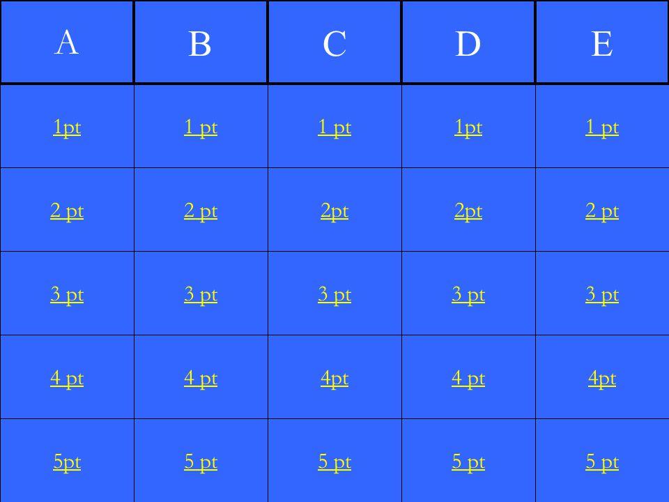 2 pt 3 pt 4 pt 5pt 1 pt 2 pt 3 pt 4 pt 5 pt 1 pt 2pt 3 pt 4pt 5 pt 1pt 2pt 3 pt 4 pt 5 pt 1 pt 2 pt 3 pt 4pt 5 pt 1pt A BCDE
