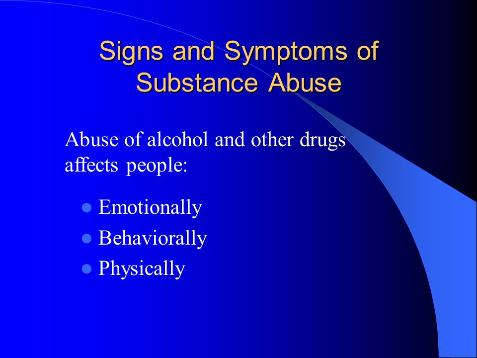 Risk of addiction: Addiction is a family disease Prior abuse of alcohol and other drugs Other contributing factors.