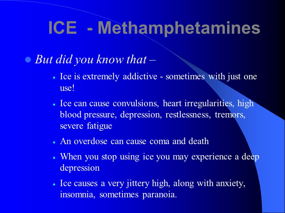Methamphetamine Also known as: Meth, Crystal, Crank, Ice You probably know why meth is abused –  Temporary mood elevation  Exhilaration (high)  Increased mental alertness  Upper-increase wakefulness