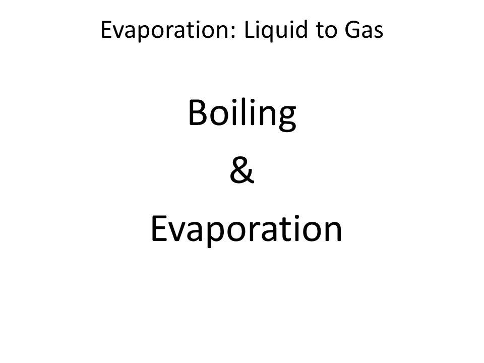Evaporation: Liquid to Gas Boiling & Evaporation