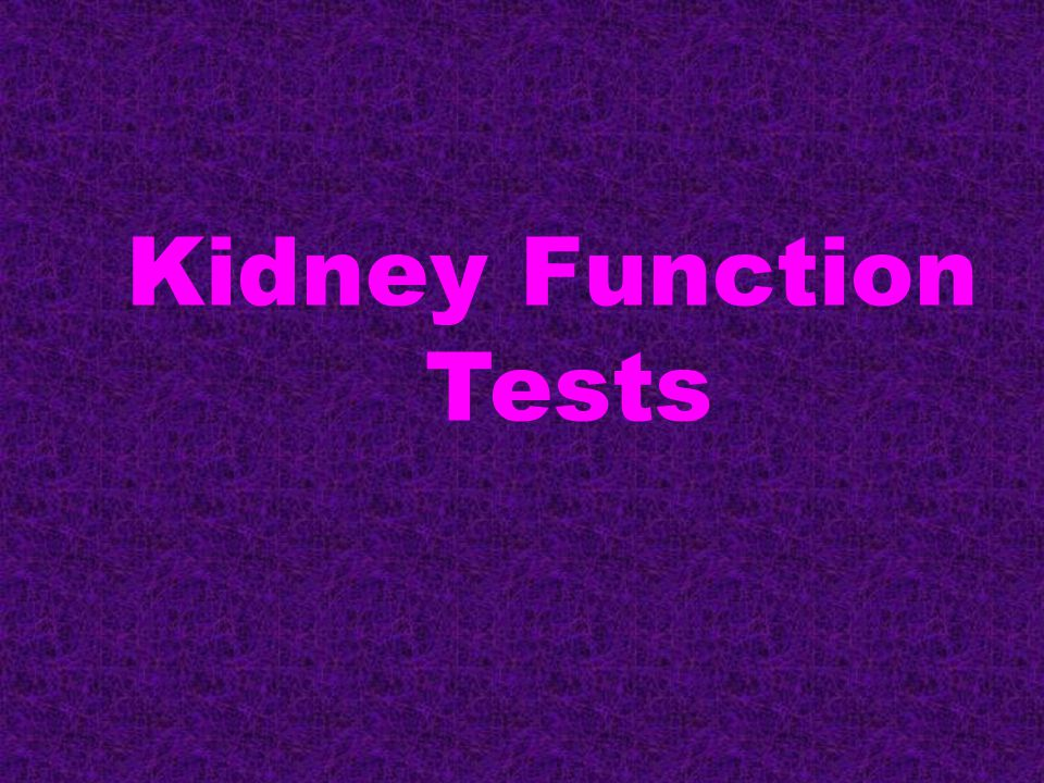 Contents: Kidney functions Functional units Renal diseases Routine kidney function tests Serum creatinine Creatinine clearance Serum Urea