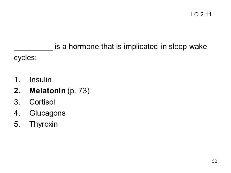 32 _________ is a hormone that is implicated in sleep-wake cycles: 1.Insulin 2.Melatonin (p. 73) 3.Cortisol 4.Glucagons 5.Thyroxin LO 2.14