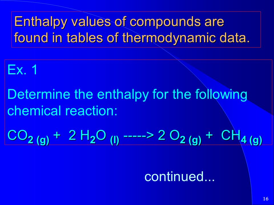 16 Enthalpy values of compounds are found in tables of thermodynamic data. Ex. 1 Determine the enthalpy for the following chemical reaction: CO 2 (g)
