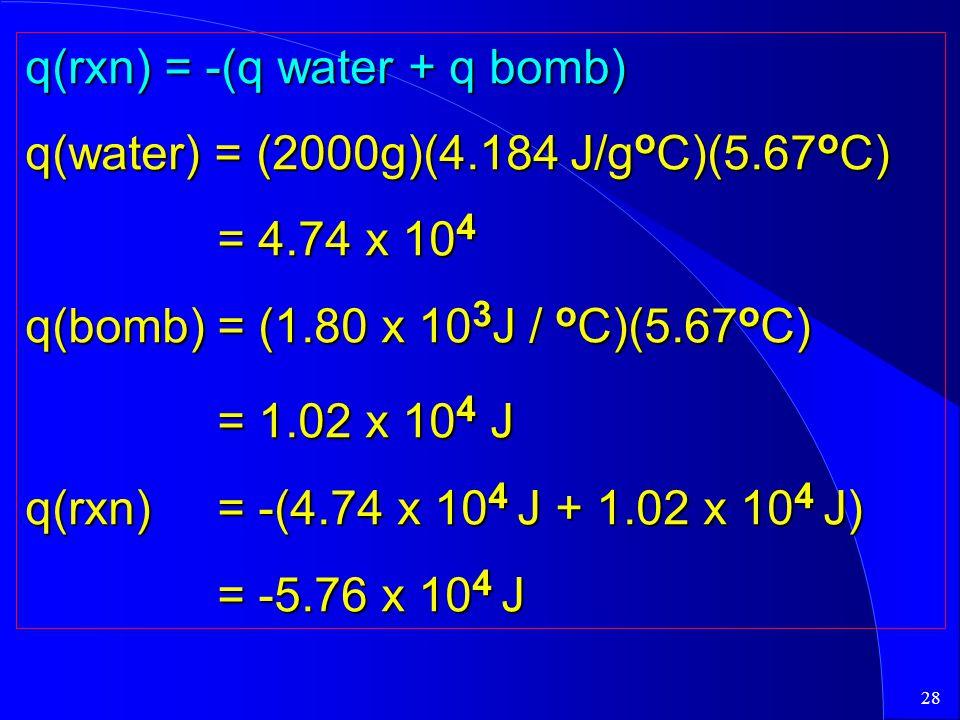 28 q(rxn) = -(q water + q bomb) q(water) = (2000g)(4.184 J/g o C)(5.67 o C) = 4.74 x 10 4 q(bomb) = (1.80 x 10 3 J / o C)(5.67 o C) = 1.02 x 10 4 J q(rxn)= -(4.74 x 10 4 J + 1.02 x 10 4 J) = -5.76 x 10 4 J