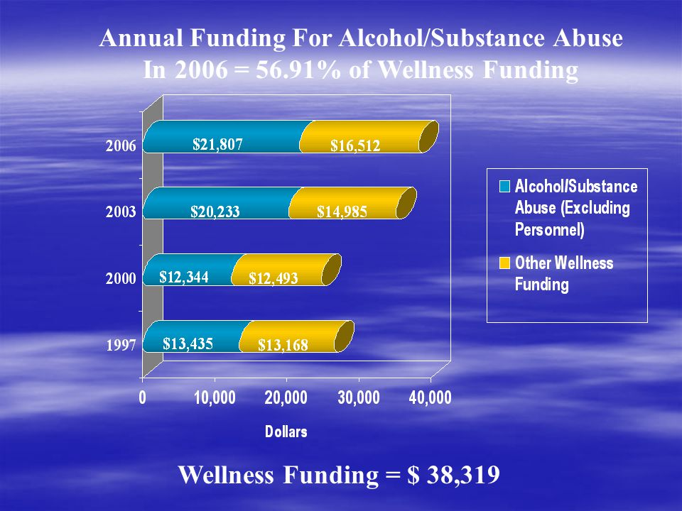Annual Funding For Alcohol/Substance Abuse In 2006 = 56.91% of Wellness Funding Wellness Funding = $ 38,319