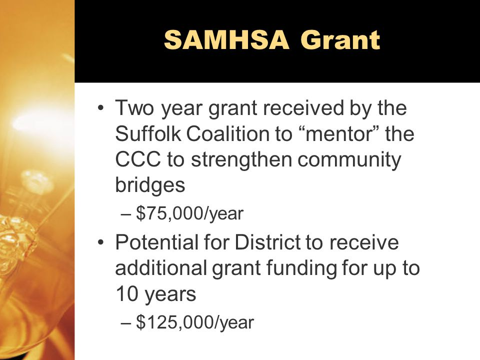 SAMHSA Grant Two year grant received by the Suffolk Coalition to mentor the CCC to strengthen community bridges –$75,000/year Potential for District to receive additional grant funding for up to 10 years –$125,000/year