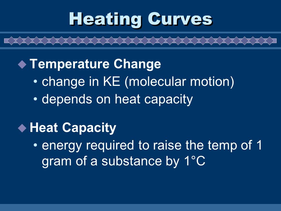 Heating Curves  Temperature Change change in KE (molecular motion) depends on heat capacity  Heat Capacity energy required to raise the temp of 1 gr