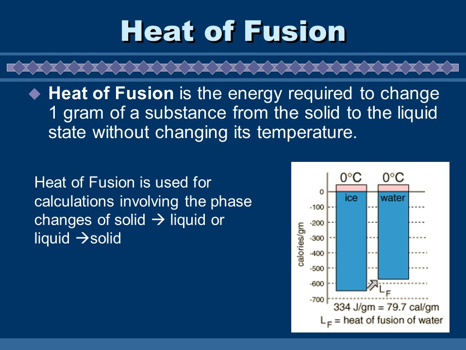 Heat of Fusion  Heat of Fusion is the energy required to change 1 gram of a substance from the solid to the liquid state without changing its tempera