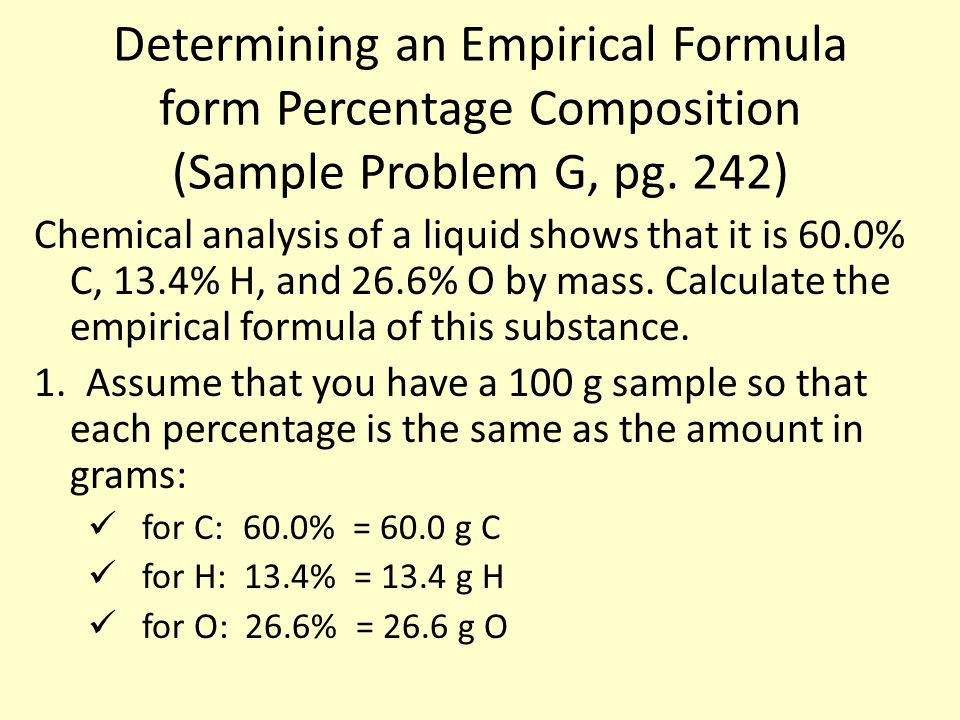 Determining an Empirical Formula form Percentage Composition (Sample Problem G, pg.