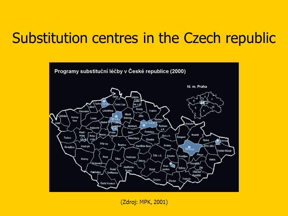 (Zdroj: MPK, 2001) Substitution centres in the Czech republic