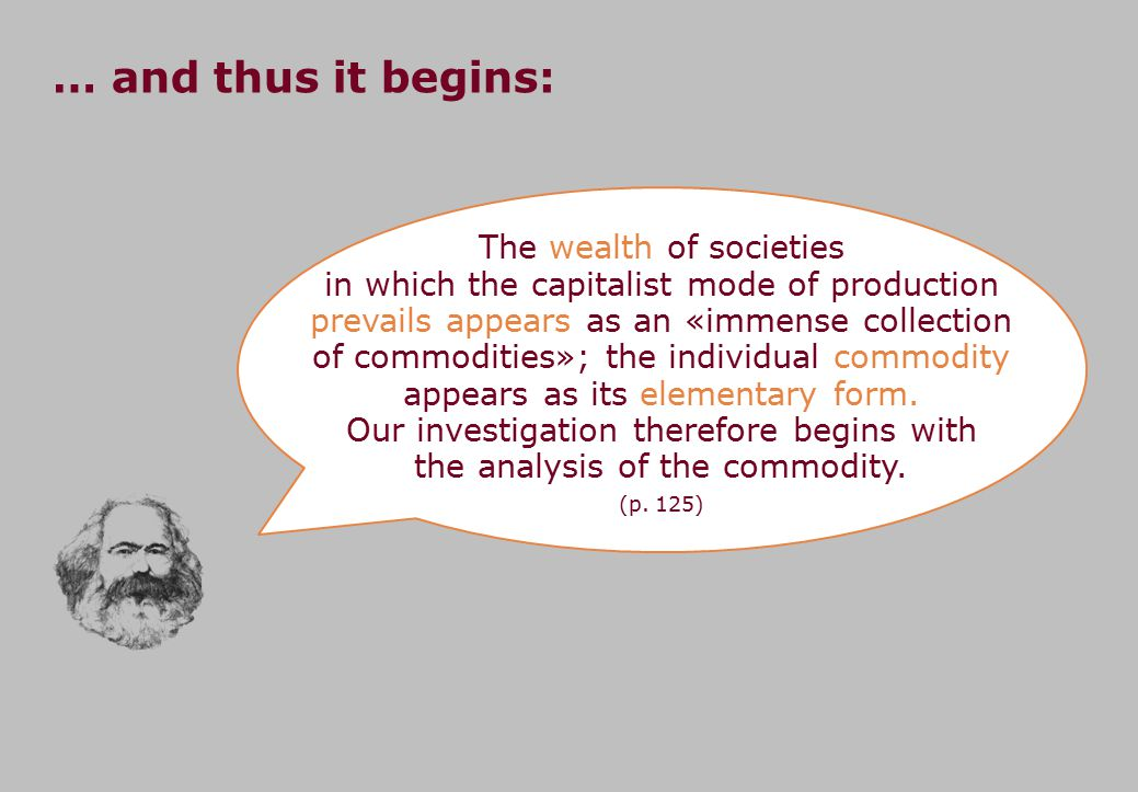 The wealth of societies in which the capitalist mode of production prevails appears as an «immense collection of commodities»; the individual commodity appears as its elementary form.