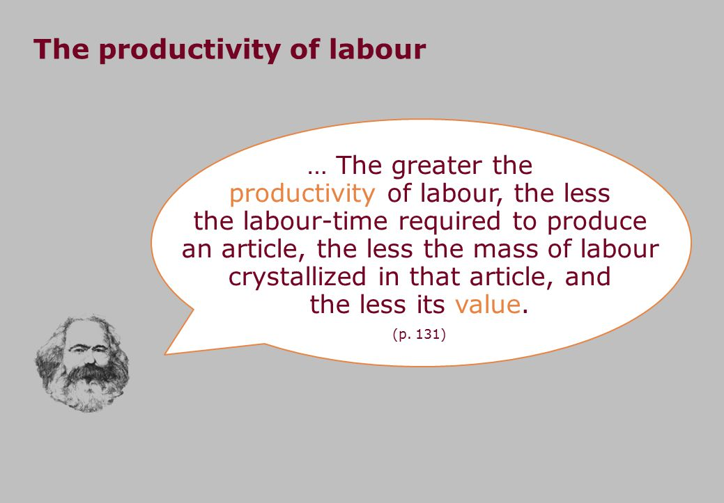 … The greater the productivity of labour, the less the labour-time required to produce an article, the less the mass of labour crystallized in that article, and the less its value.