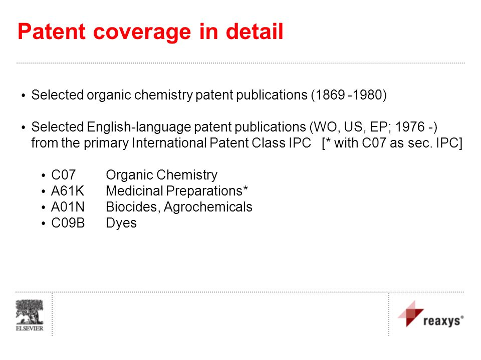 Patent coverage in detail Selected organic chemistry patent publications (1869 -1980) Selected English-language patent publications (WO, US, EP; 1976
