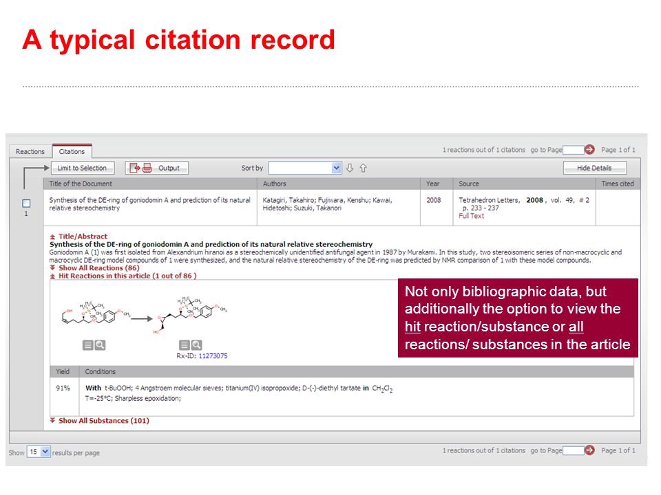 A typical citation record Not only bibliographic data, but additionally the option to view the hit reaction/substance or all reactions/ substances in