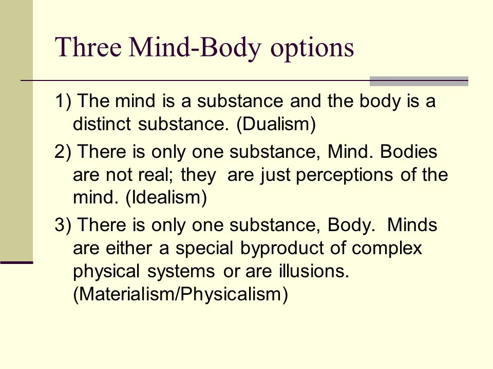 Three Mind-Body options 1) The mind is a substance and the body is a distinct substance. (Dualism) 2) There is only one substance, Mind. Bodies are no