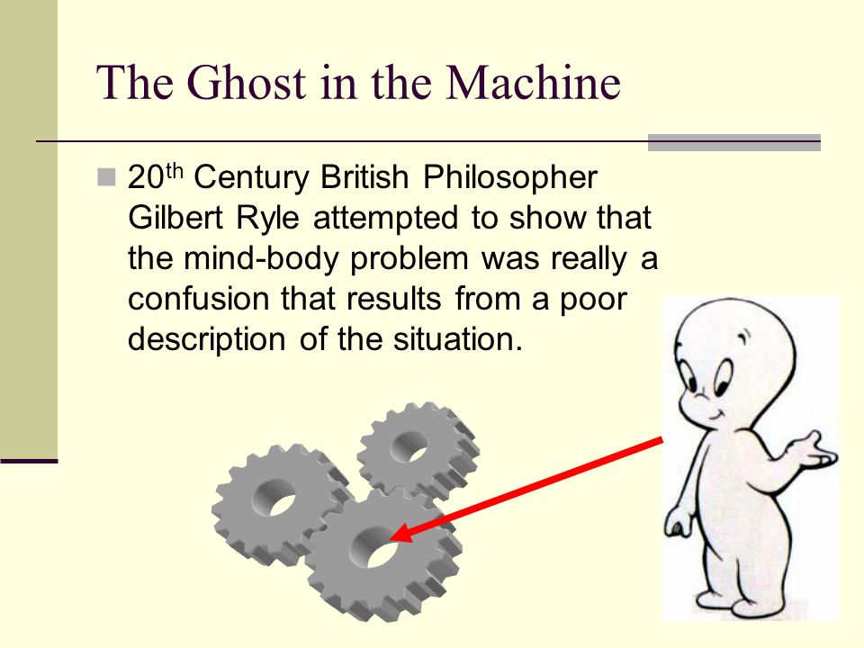 The Ghost in the Machine 20 th Century British Philosopher Gilbert Ryle attempted to show that the mind-body problem was really a confusion that resul