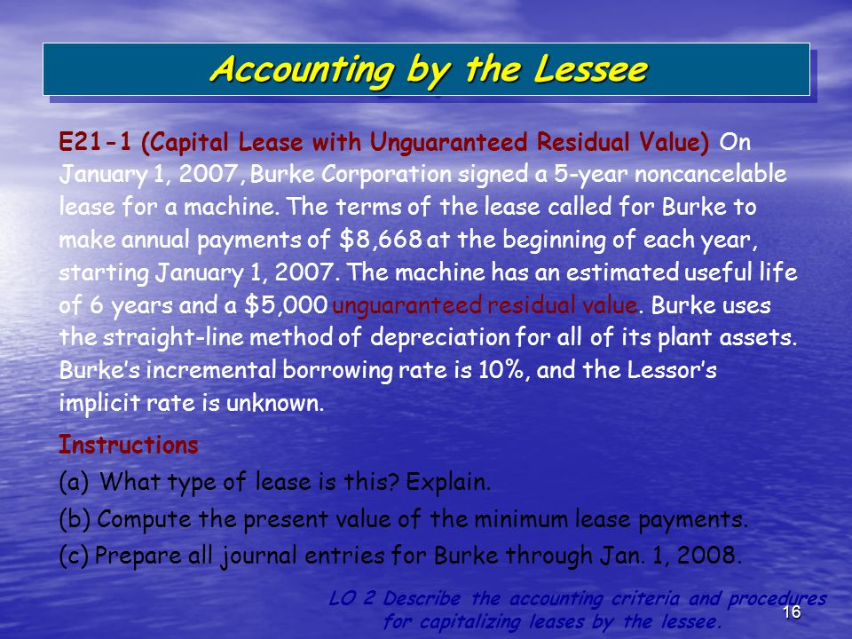 16 E21-1 (Capital Lease with Unguaranteed Residual Value) On January 1, 2007, Burke Corporation signed a 5-year noncancelable lease for a machine. The