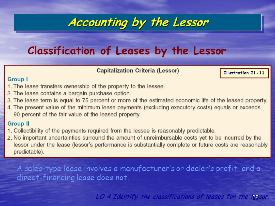 28 Classification of Leases by the Lessor Accounting by the Lessor LO 4 Identify the classifications of leases for the lessor. A sales-type lease invo