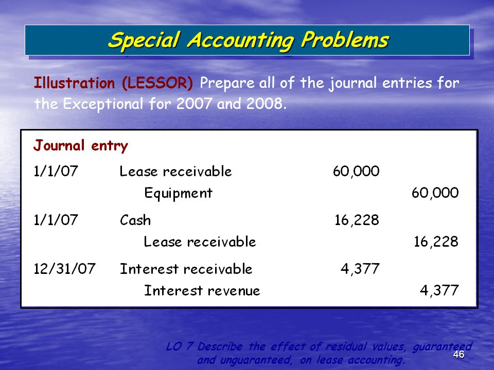 46 Illustration (LESSOR) Prepare all of the journal entries for the Exceptional for 2007 and 2008. Special Accounting Problems LO 7 Describe the effec