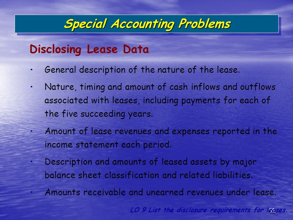 52 General description of the nature of the lease. Nature, timing and amount of cash inflows and outflows associated with leases, including payments f