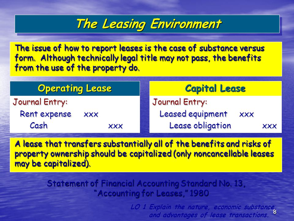8 Operating Lease Capital Lease Journal Entry: Rent expense xxx Rent expense xxx Cash xxx Cash xxx Journal Entry: Leased equipment xxx Leased equipmen