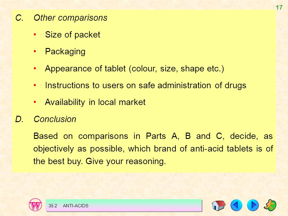 17 35.2 ANTI-ACIDS C.Other comparisons Size of packet Packaging Appearance of tablet (colour, size, shape etc.) Instructions to users on safe administration of drugs Availability in local market D.Conclusion Based on comparisons in Parts A, B and C, decide, as objectively as possible, which brand of anti-acid tablets is of the best buy.