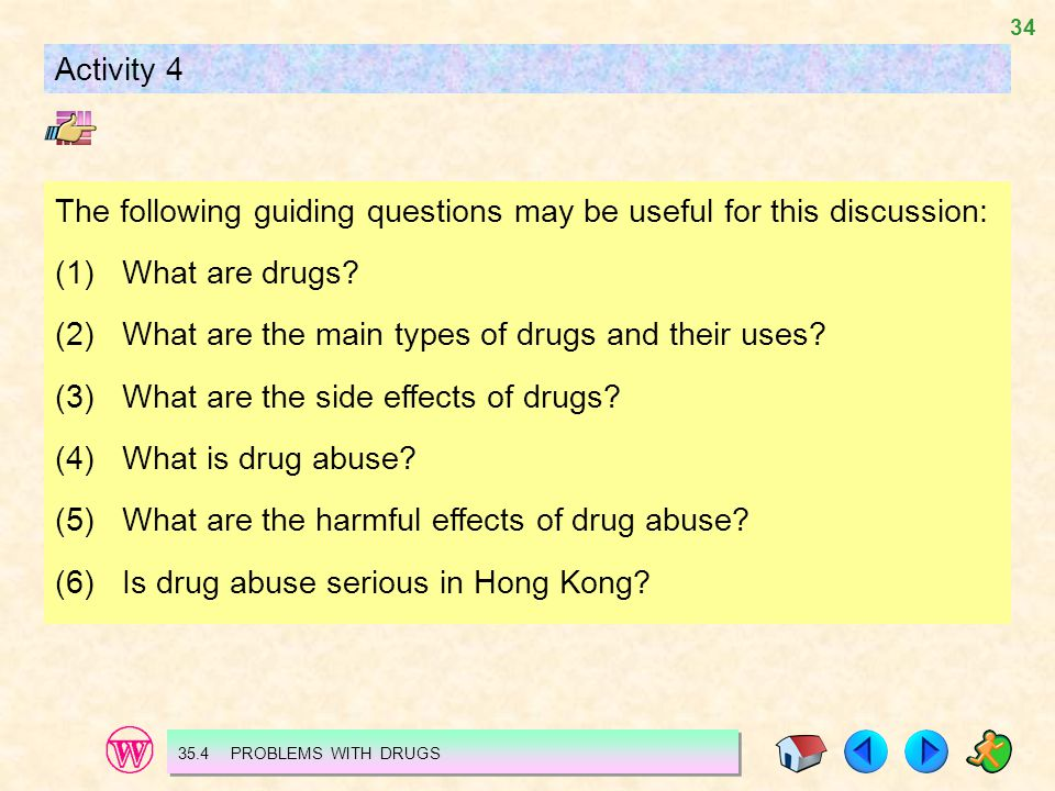 34 The following guiding questions may be useful for this discussion: (1)What are drugs.