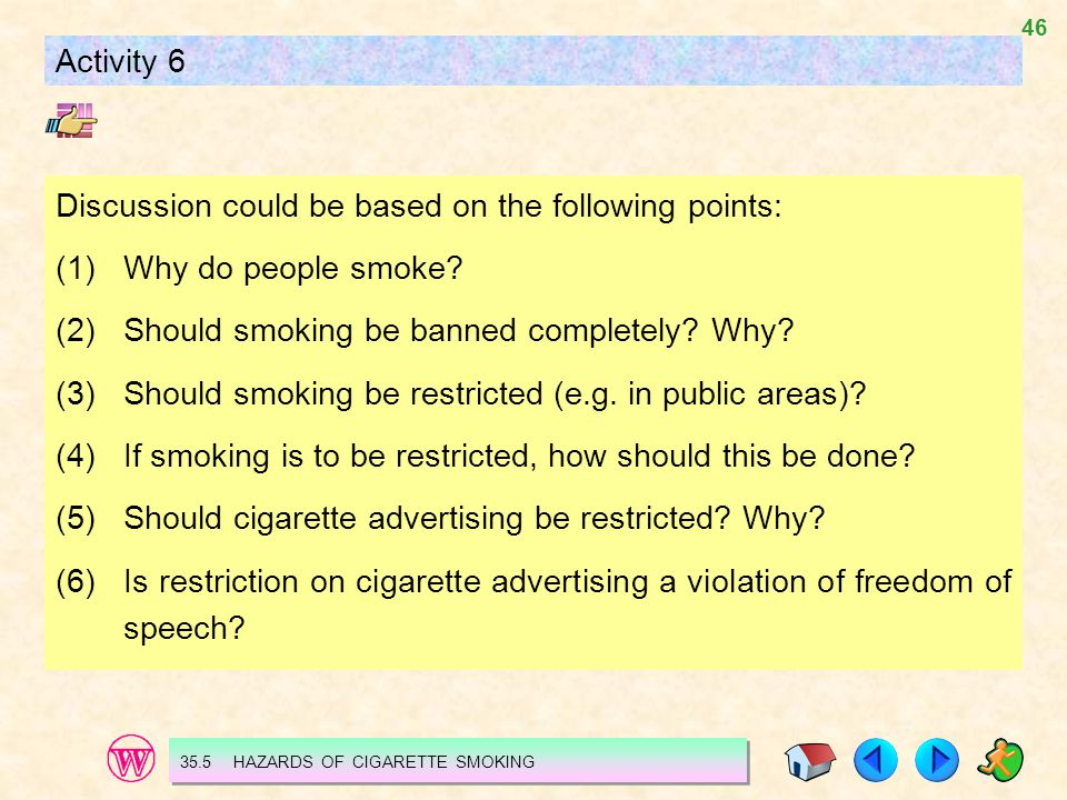 46 Activity 6 Discussion could be based on the following points: (1)Why do people smoke.