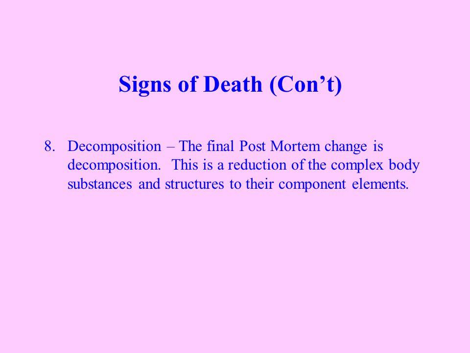 8.Decomposition – The final Post Mortem change is decomposition.