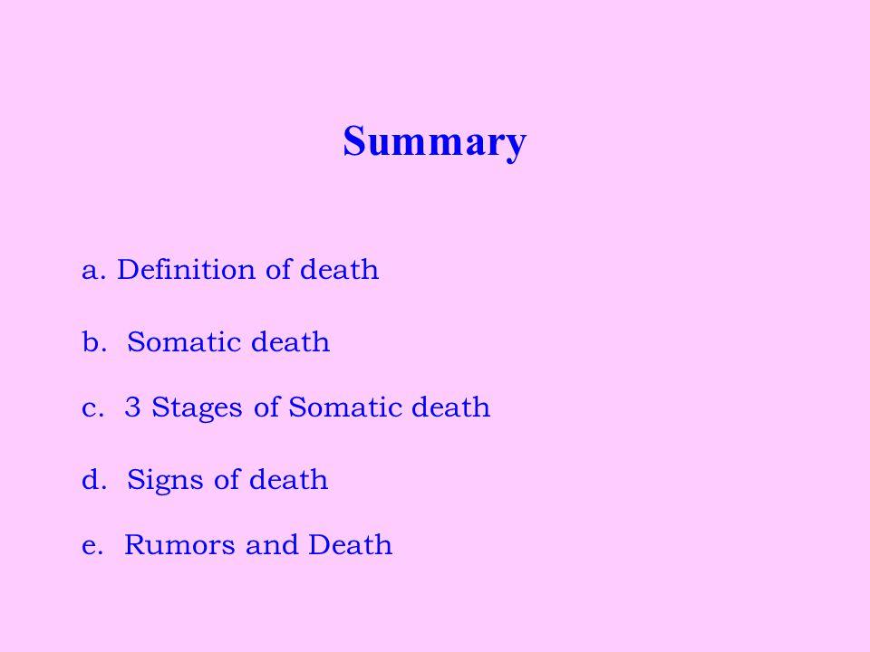 Summary a. Definition of death b. Somatic death c.
