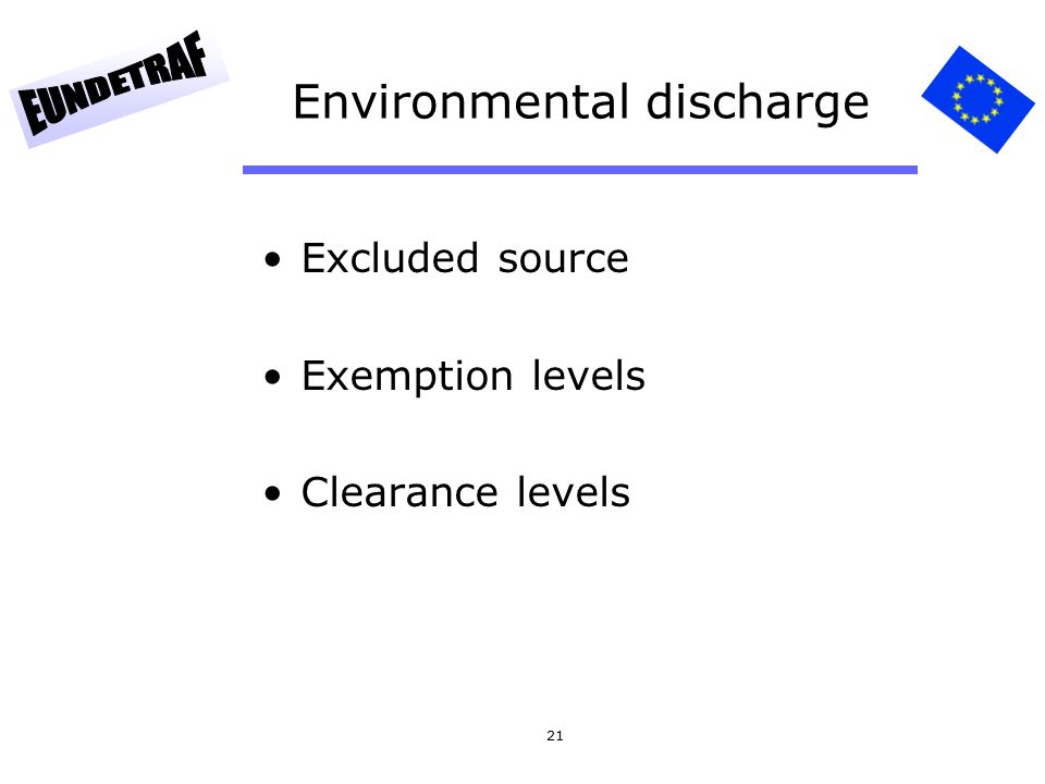 21 Environmental discharge Excluded source Exemption levels Clearance levels