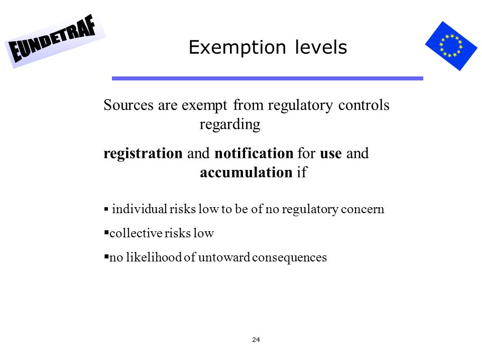 24 Exemption levels Sources are exempt from regulatory controls regarding registration and notification for use and accumulation if  individual risks low to be of no regulatory concern  collective risks low  no likelihood of untoward consequences