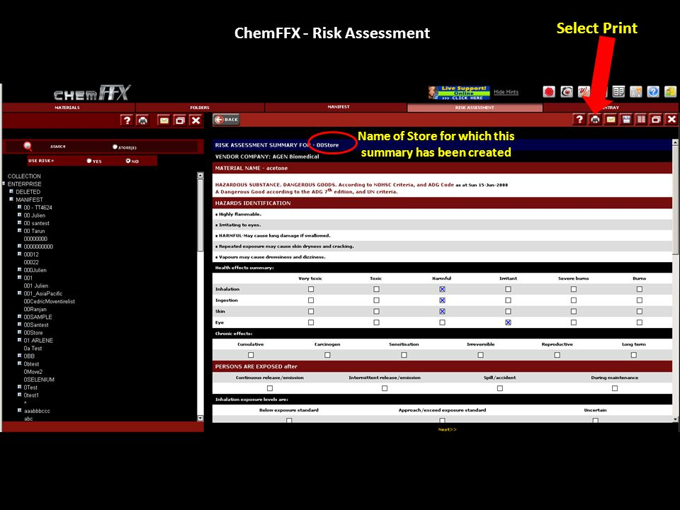 ChemFFX - Risk Assessment Name of Store for which this summary has been created Select Print