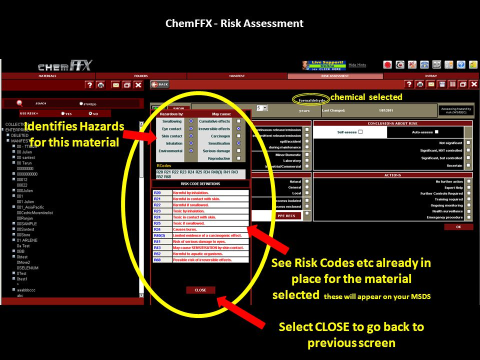 ChemFFX - Risk Assessment Definitions / explanations of these phrases follow in the next screen Select ADD To create new Risk Assessment chemical selected