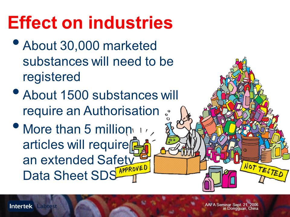 AAFA Seminar Sept. 21, 2006 in Dongguan, China Effect on industries About 30,000 marketed substances will need to be registered About 1500 substances