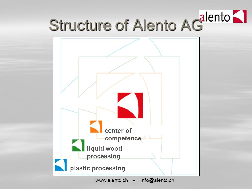 www.alento.ch – info@alento.ch Structure of Alento AG center of competence liquid wood processing plastic processing