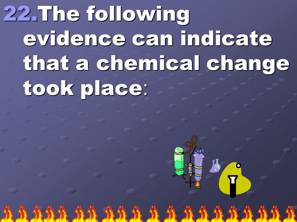 22.The following evidence can indicate that a chemical change took place :