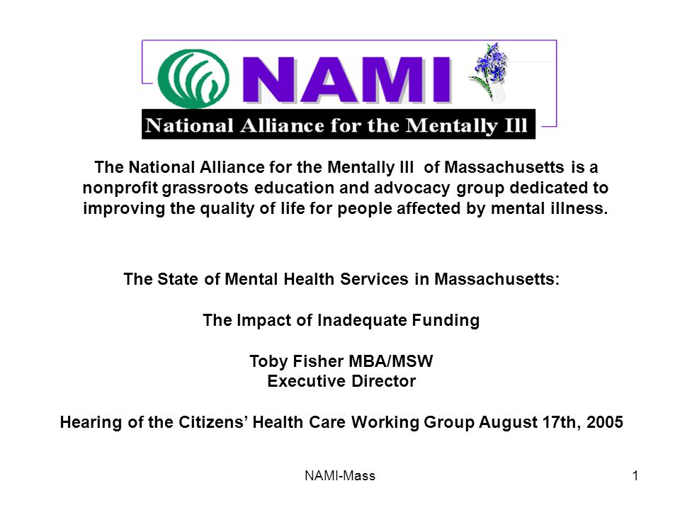 NAMI-Mass1 The National Alliance for the Mentally Ill of Massachusetts is a nonprofit grassroots education and advocacy group dedicated to improving the quality of life for people affected by mental illness.