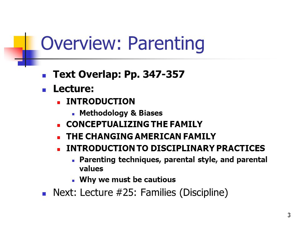 2 References Collins, W. A., Maccoby, E. E., Steinberg, L., Hetherington, E. M., Bornstein,M. H. (2003). Contemporary research on parenting: The case