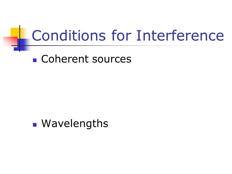 Conditions for Interference Coherent sources Wavelengths