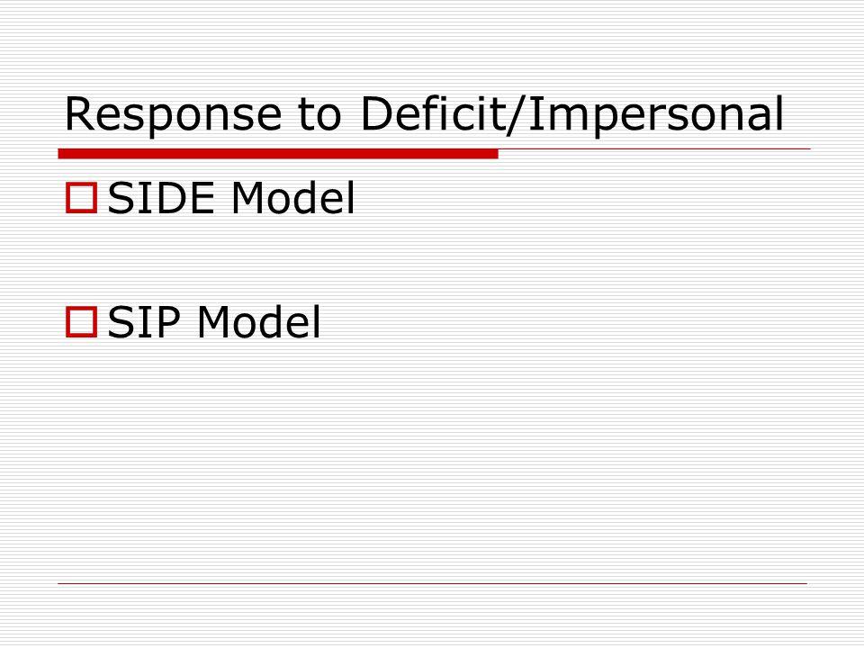 Response to Deficit/Impersonal  SIDE Model  SIP Model