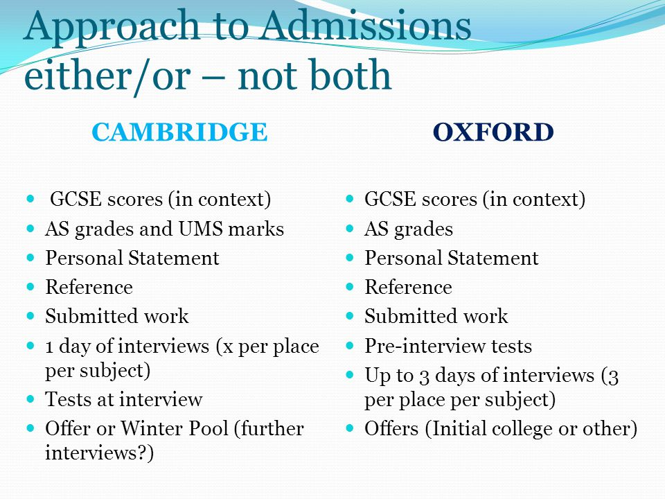 Approach to Admissions either/or – not both CAMBRIDGEOXFORD GCSE scores (in context) AS grades and UMS marks Personal Statement Reference Submitted work 1 day of interviews (x per place per subject) Tests at interview Offer or Winter Pool (further interviews?) GCSE scores (in context) AS grades Personal Statement Reference Submitted work Pre-interview tests Up to 3 days of interviews (3 per place per subject) Offers (Initial college or other)