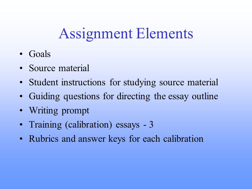 Assignment Elements Goals Source material Student instructions for studying source material Guiding questions for directing the essay outline Writing prompt Training (calibration) essays - 3 Rubrics and answer keys for each calibration