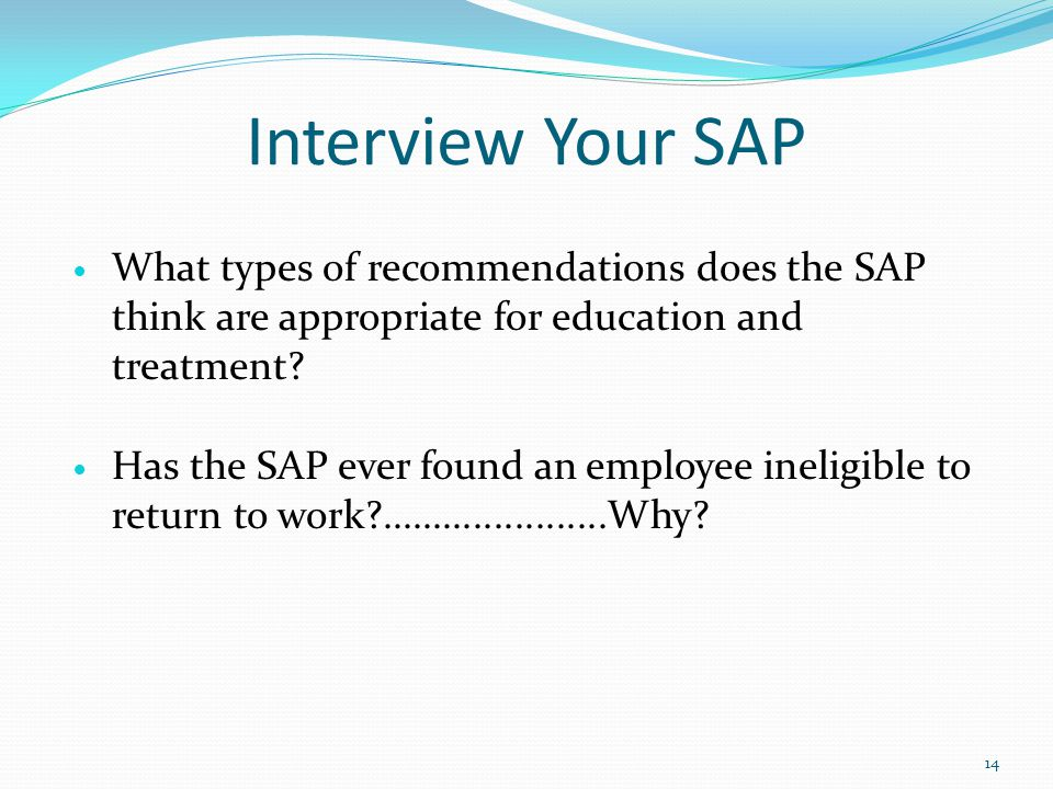 Interview Your SAP What types of recommendations does the SAP think are appropriate for education and treatment.